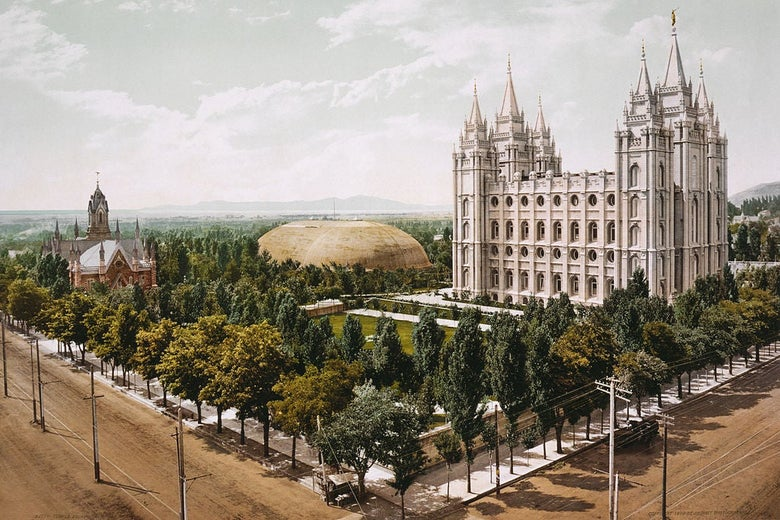 Photochrom print of Temple Square in Salt Lake City, 1899.
