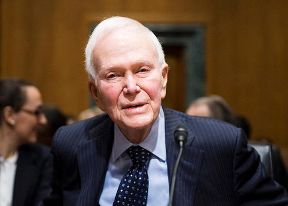 Former Sen. Bob Packwood takes his seat for the Senate Finance Committee hearing on Capitol Hill on Feb. 10, 2015