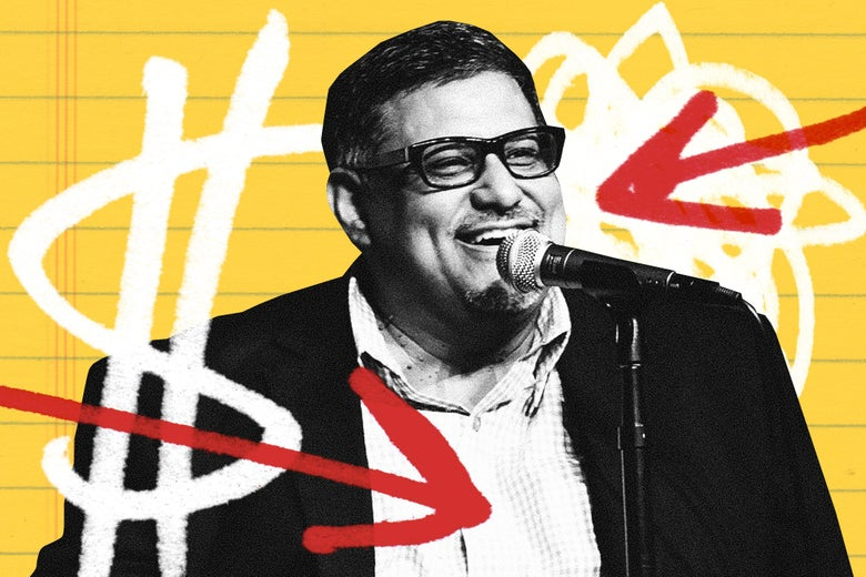 Joe Loya, smiling at a microphone, overlaid onto a yellow paper background flanked by arrows and dollar signs.