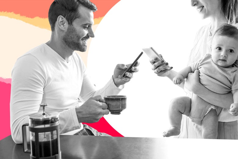 A father and mother looking at their smartphones over coffee, while the mother is holding a toddler.