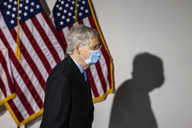 Senate Majority Leader Mitch McConnell heads into the Republican policy luncheon on October 26, 2020 in Washington, DC.