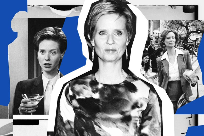 Images of Cynthia Nixon as Miranda on Sex and the City and as herself.