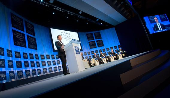 Russian Prime Minister Dmitry Medvedev addresses a session of the annual World Economic Forum (WEF) meeting in the Swiss resort of Davos on January 23, 2013.