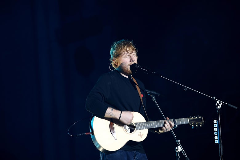 AUCKLAND, NEW ZEALAND - MARCH 24:  Ed Sheeran performs on stage at Mt Smart Stadium on March 24, 2018 in Auckland, New Zealand.  (Photo by Phil Walter/Getty Images)