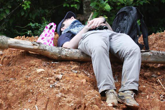 The author reclines alone in the midday heat of the Ankasa Forest Resource Reserve in Ghana, having just seen Hartlaub's Duck, in 2010.