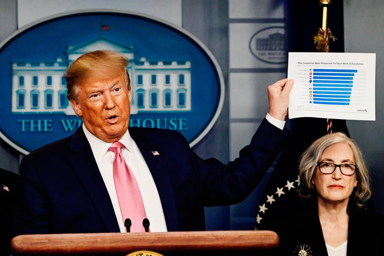 Trump holds up a bar graph while Anne Schuchat sits close by.