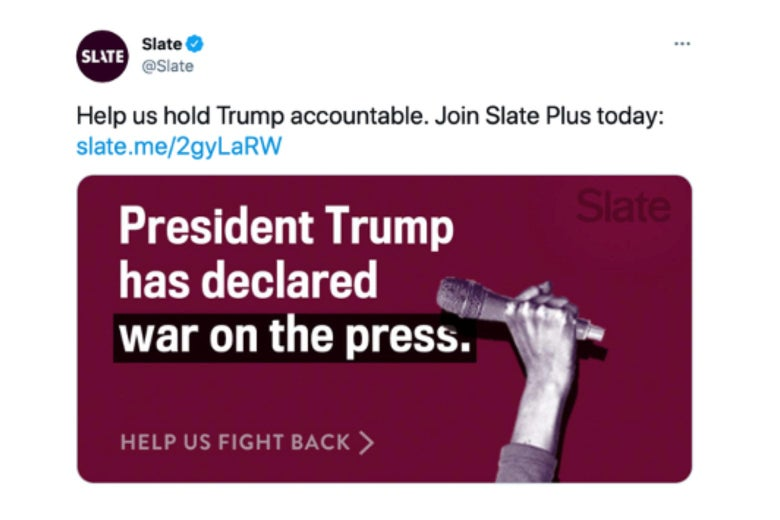 """A Tweet that says, """"Help us hold Trump accountable. Join Slate Plus today."""""""