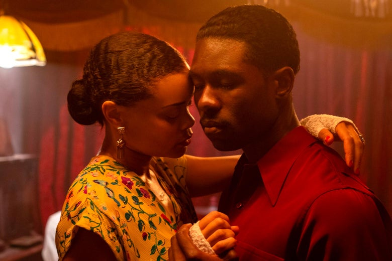Andra Day and Trevante Rhodes slow dance.