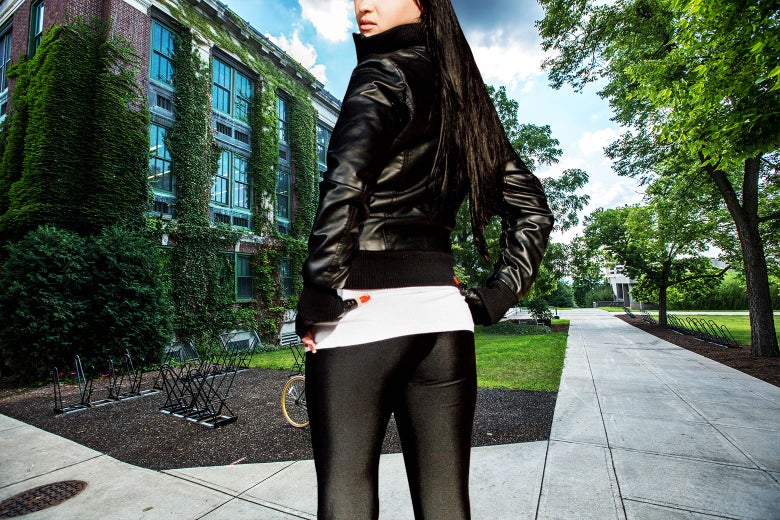A woman wearing leggings on campus