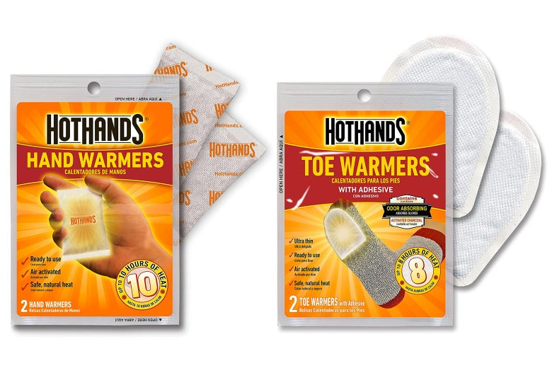 Hand and toe warmers.