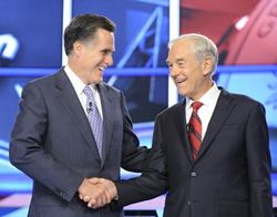Mitt Romney and Ron Paul from the GOP debate. Click image to expand.