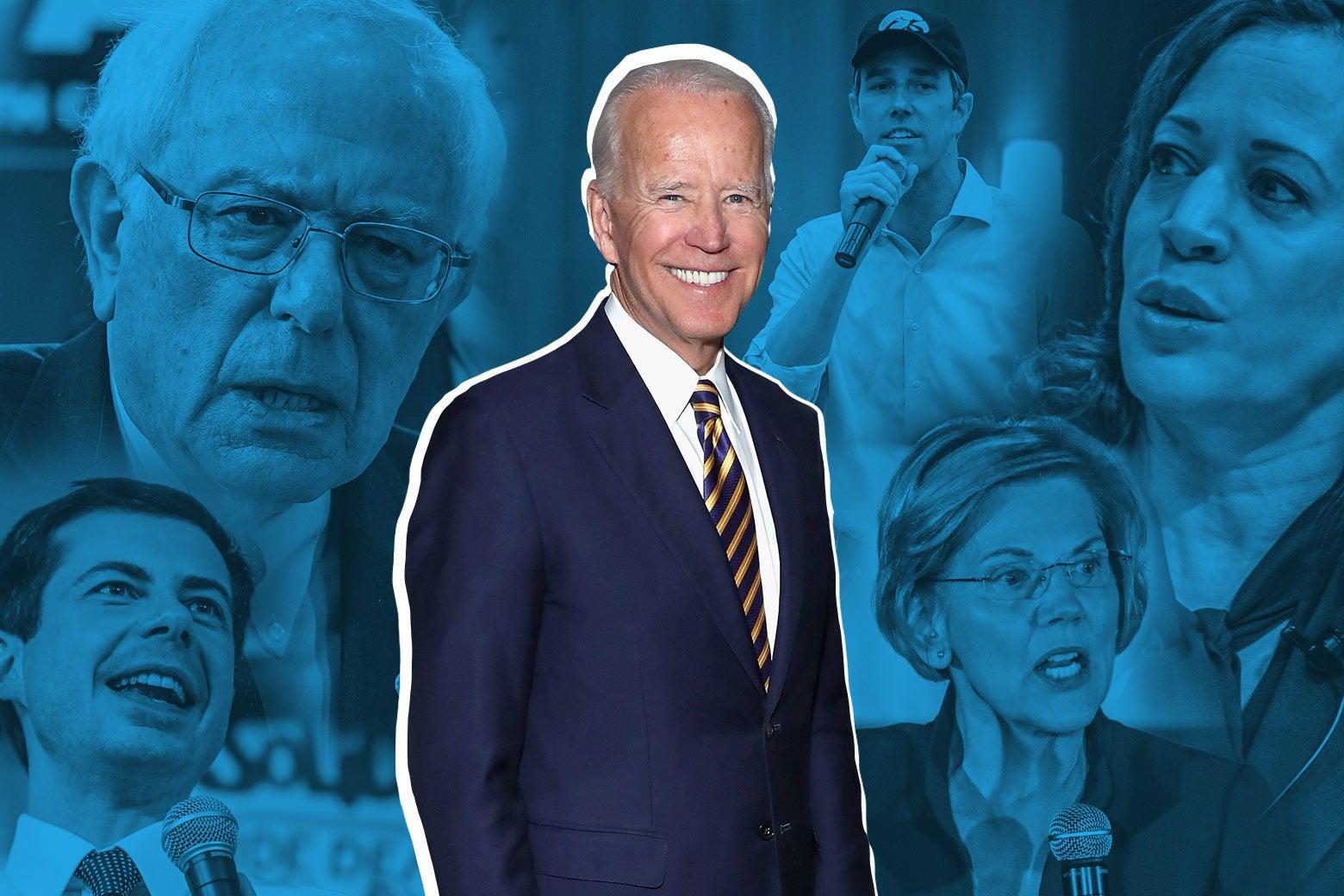 Photo collage of 2020 Democratic presidential hopefuls: Pete Buttigieg, Bernie Sanders, Beto O'Rourke, Kamala Harris, and Elizabeth Warren, with Joe Biden in the center.