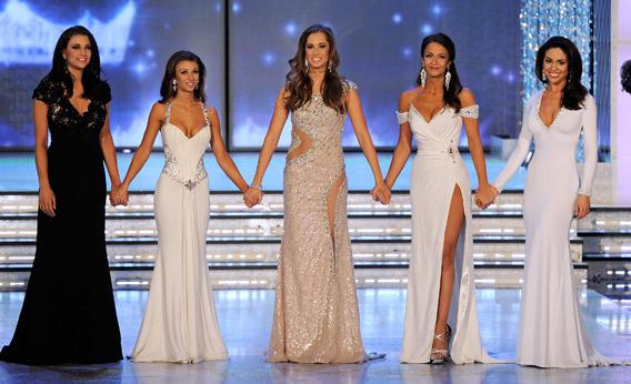 The top five finalists in the 2012 Miss America Pageant.