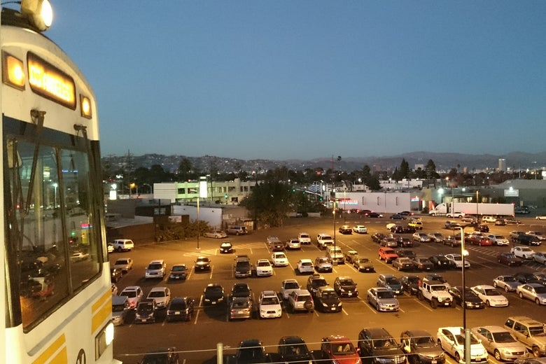 A parking lot near the Los Angeles Expo Line.