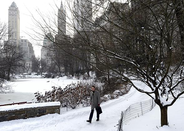 A man walks through the snow in Central Park on January 3, 2014 in New York