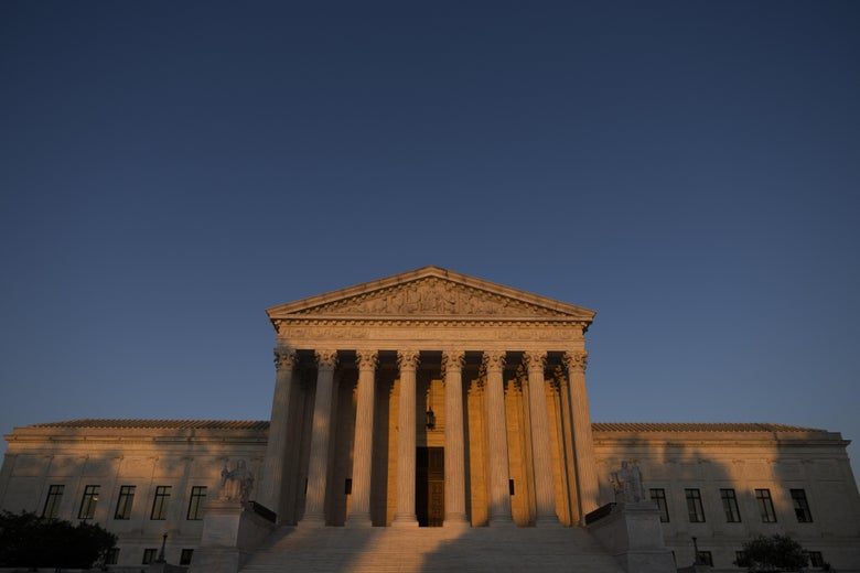 The Supreme Court at sunset.