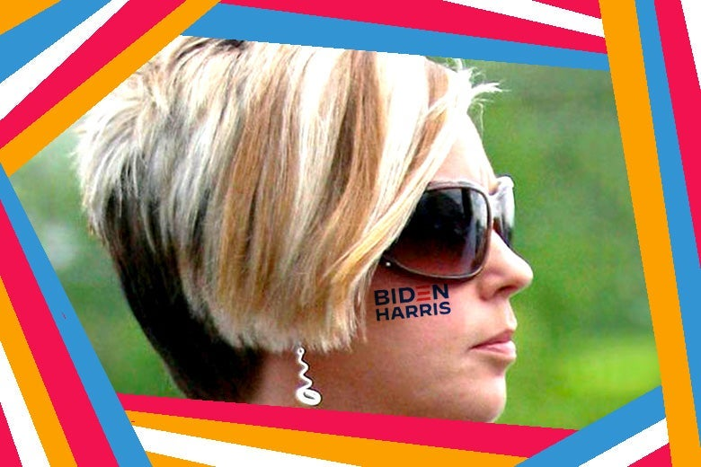 A blond woman in sunglasses with a Biden-Harris tattoo on her cheek.