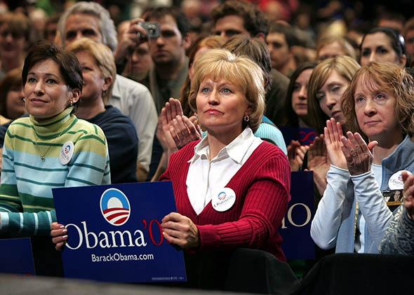 Obama supporters await his arrival at a campaign rally at Iowa State University February 11, 2007 in Ames, Iowa.