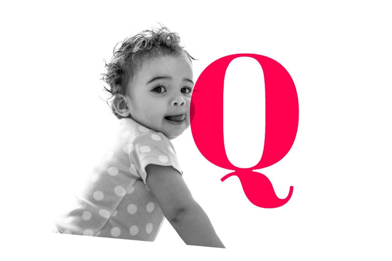 A baby and a letter Q.