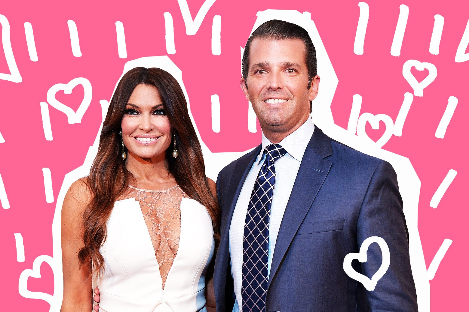 Donald Trump Jr. and Kimberly Guilfoyle surrounded by hearts.