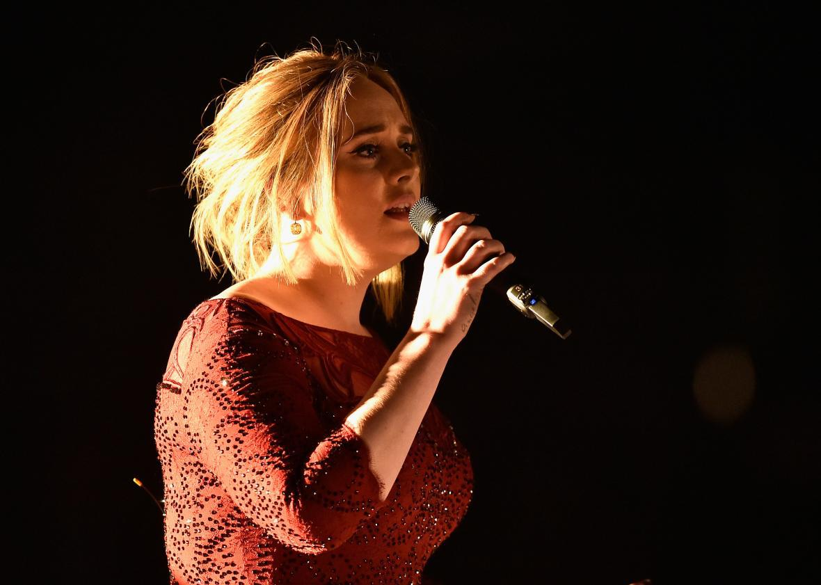 Adele at the BRIT Awards on Wednesday night.