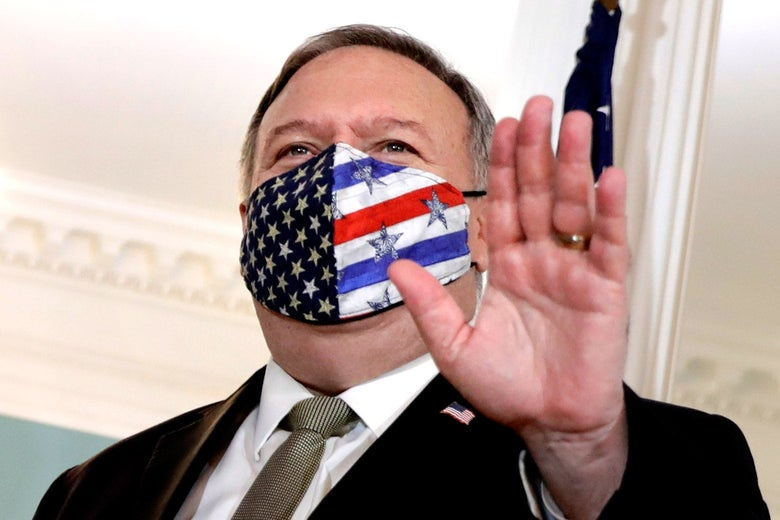 Mike Pompeo in a U.S. flag–themed mask