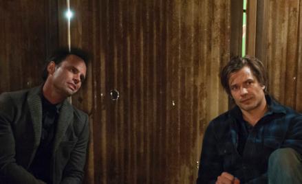 (L) Walton Goggins as Boyd Crowder and (R) Timothy Olyphant as Deputy U.S. Marshal Raylan Givens.