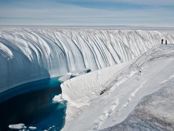 Antarctic ice canyon carved by runoff.