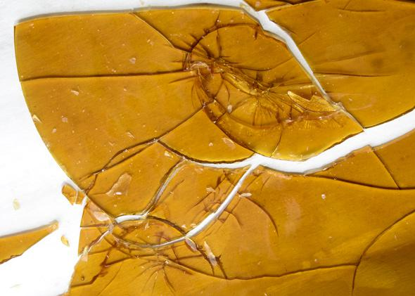Mixed shatter slab by TC Labs, the product is broken prior to packaging to fit into the 1 gram or less packaging requirements set by the MED.
