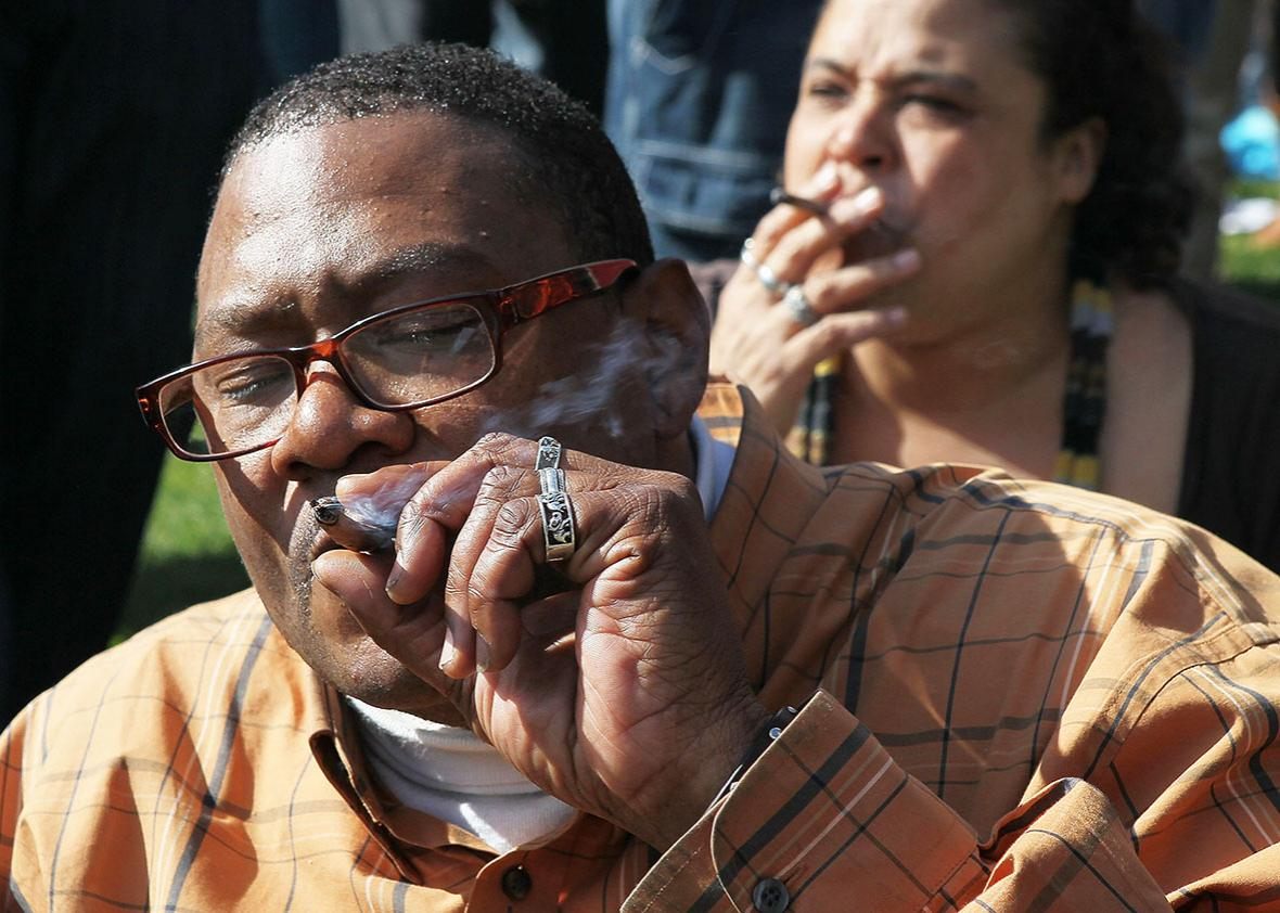 "A marijuana user named Bob smokes marijuana during a 420 Day celebration on ""Hippie Hill"" in Golden Gate Park April 20, 2010 in San Francisco, California."