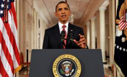 US President Barack Obama speaks in a rare prime-time address to the nationn.
