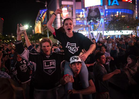 Kings fans celebrate the team's Stanley Cup victory in Los Angeles.