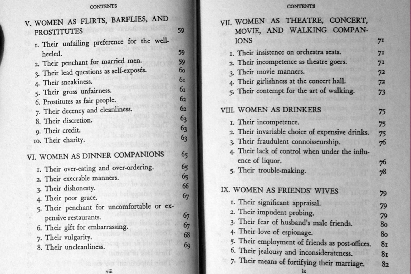 "Table of contents for such chapters as ""Women as Flirts, Barflies, and Prostitutes"" and ""Women as Dinner Companions."""