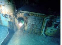 Cameron's robots exit the shipwreck's interior