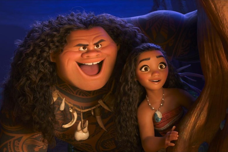 Maui and Moana peer out from behind a cave wall.