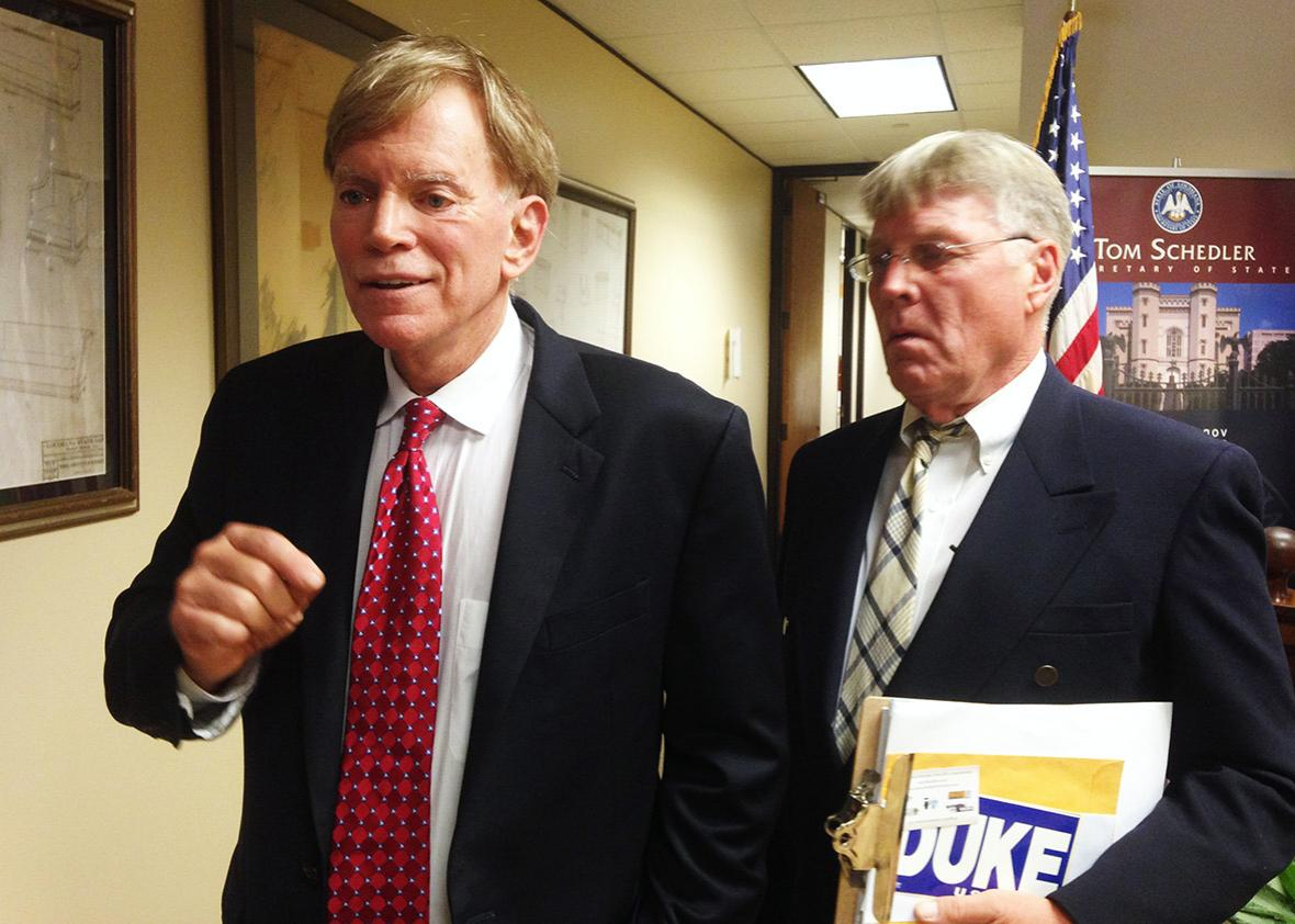 Former leader of the Ku Klux Klan David Duke arrives at the Louisiana Secretary of State's office along with campaign coordinator Mike Lawrence to file to run as a Republican for United States Senate in Baton Rouge, Louisiana, U.S. July 22, 2016.