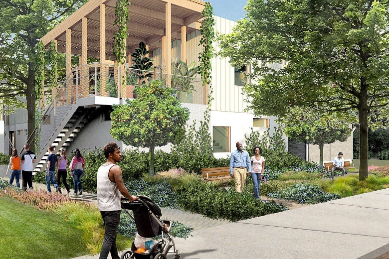 A rendering of Hidden Gardens, the winning design for placing four units on a single parcel.