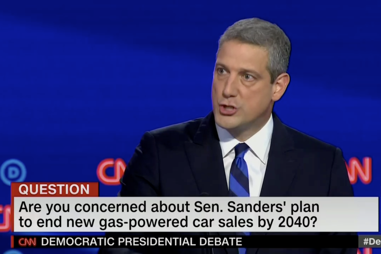 "In this screengrab from CNN, the banner reads: ""Are you concerned about Sen. Sanders' plan to end new gas-powered car sales by 2040?"""