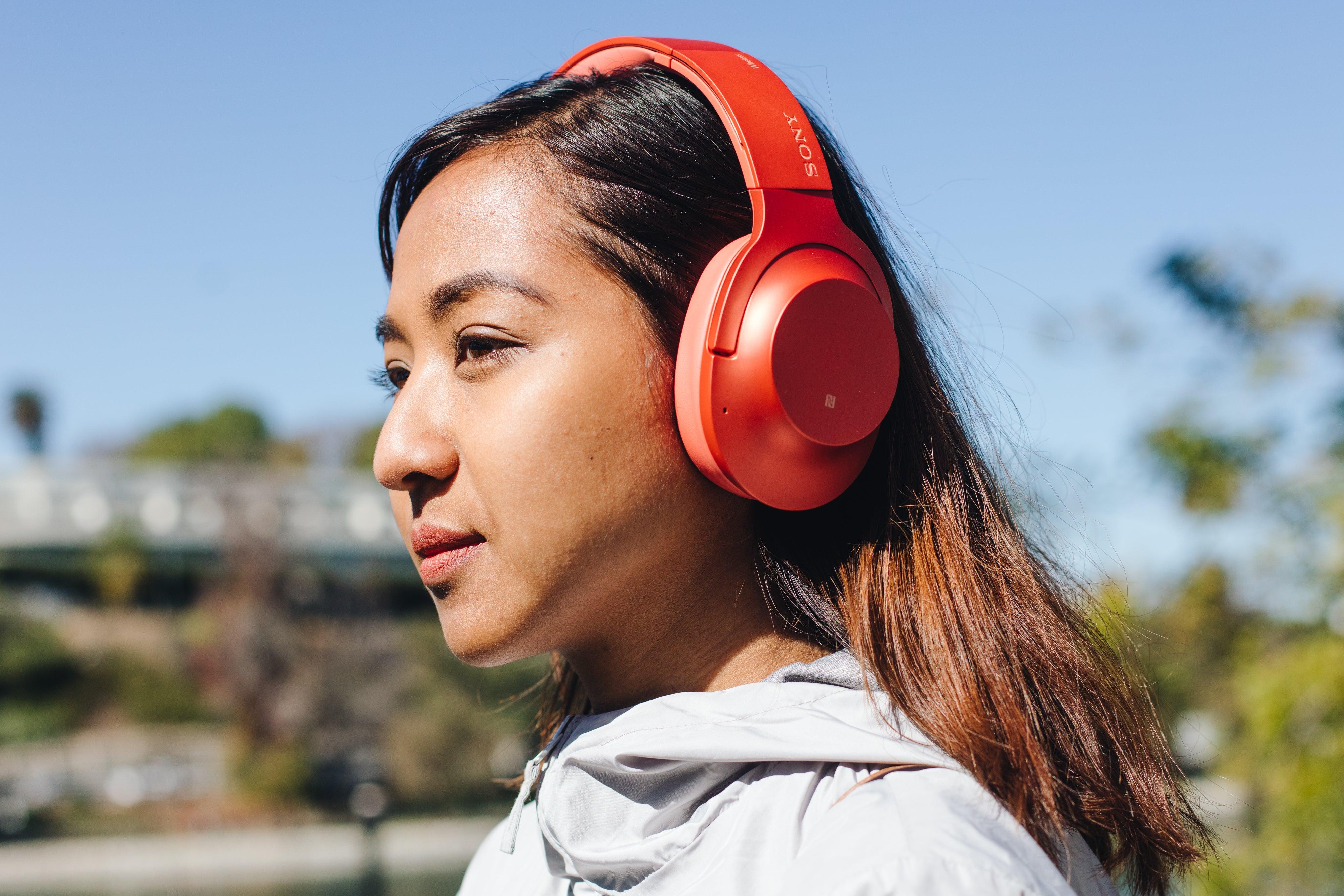 woman wearing Sony headphones