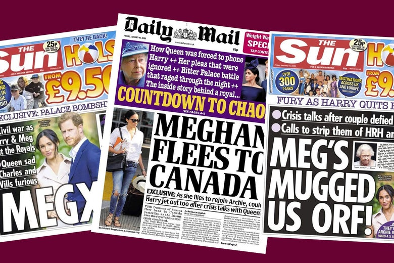 Covers in a collage of Daily Mail and The Sun.