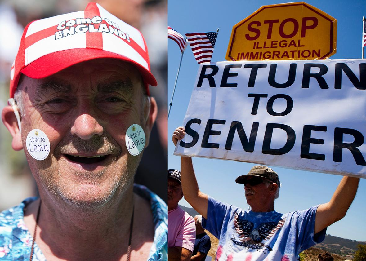 A Leave supporter poses in Clacton-on-Sea as UK Independence Party (UKIP) leader Nigel Farage visits on June 21, 2016. Demonstrators picket against the possible arrivals of undocumented migrants who may be processed at the Murrieta Border Patrol Station in Murrieta, California July 1, 2014.