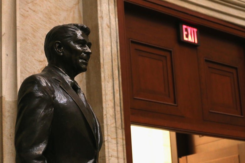 A statue of President Reagan.