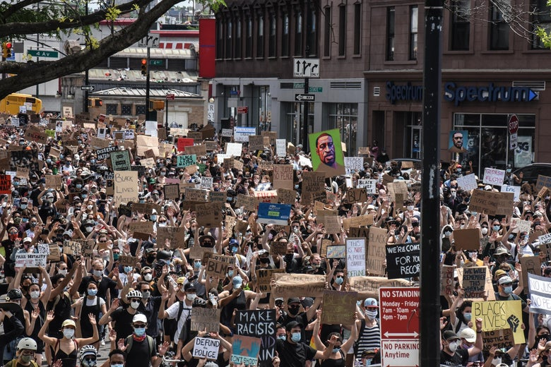 Demonstrators march in support of the Black Lives Matter Movement on June 6, 2020 in the Brooklyn borough of New York City.