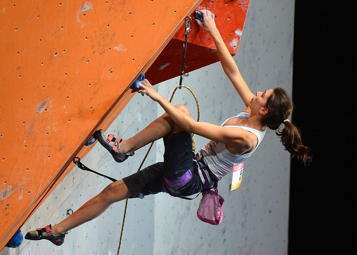 France's Helene Janicot competes during the Lead Women's Final of the indoor World Climbing Championships 2012, on September 15, 2012, at the Palais Omnisports Paris Bercy in Paris.