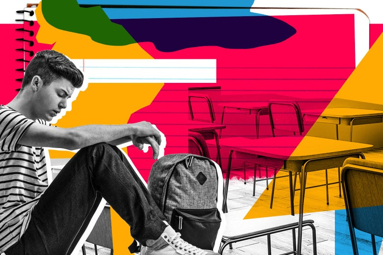 Photo collage of a teenage boy sitting alone with his backpack in an empty classroom.