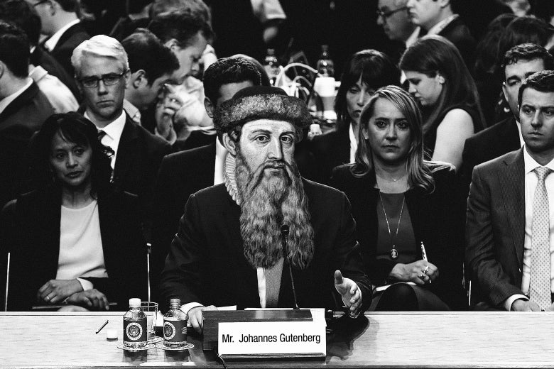 "Photo illustration: ""Johannes Gutenberg"" speaks before the ""Holy Roman Empire."""