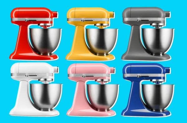 Six Artisan Mini mixers in different colors.