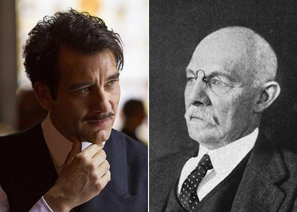 Left: Clive Owen in The Knick. Right: William Stewart Halsted.