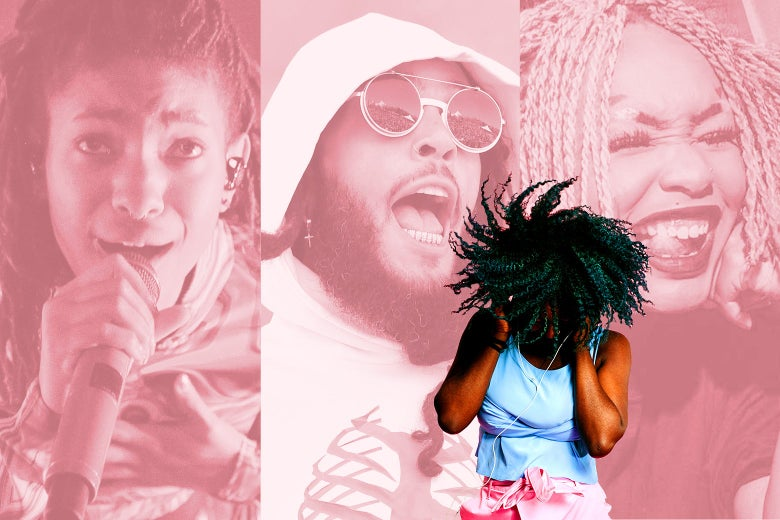 A Black girl rocking out in front of a background triptych of Willow Smith, Travie McCoy, and Edith Johnson