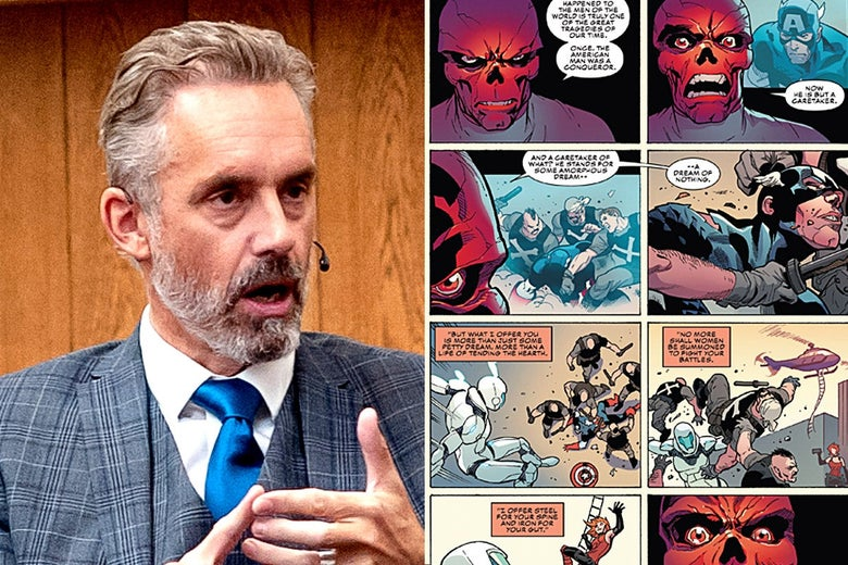 A split screen showing Jordan Peterson on the left, wearing a gray plaid suit and blue tie, and a page from Captain America on the right featuring the Red Skull, a Nazi supervillain.